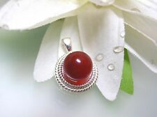 Nature vintage top quality Canelian round Rope Bezel sterling silver pendant USA