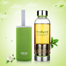 ONEDAY 380ML Glass Water Bottle Sports Travel Mug Cup w/Tea Infuser Cover Green