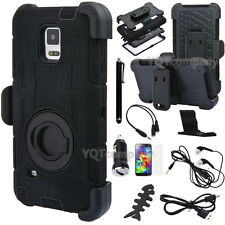 Accessory+ Black Rugged Case Cover Belt Clip Holster For SAMSUNG Galaxy S5 i9600
