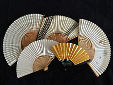 Five vintage Japanese collectable fans sensu made of bamboo, Japan import (C270)