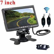 "7"" TFT-LCD Monitor + Wireless Car Reverse Rear View Backup Camera Night Vision"