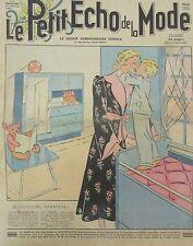 LE PETIT ECHO DE LA MODE N° 7 de 1937 GRAVURE VINTAGE CHAMBRE ENFANT BISOU MAMAN