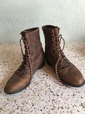 Mens Justin's Brown Leather Roper Lace-Up Cowboy Western Boots Size 9.5 EE