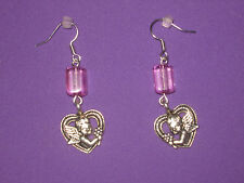 VALENTINE EARRINGS-CUPID IN HEART w/ PINK  BEADS-HANDCRAFTED