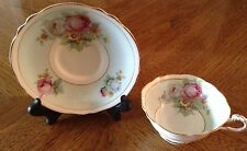 Vintage Double Warranted Paragon Tea Cup & Saucer Set Bone China Pale Blue Roses