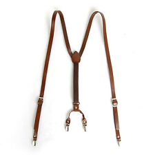 "Mens Leather Suspenders Y-Back Retro Braces Clip-On Brown 45""~49"""
