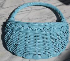 Shabby Chic Aqua Blue Wicker Wall Pocket Basket Beach Cottage Country Coastal~EC