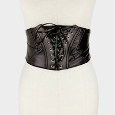 "32"" black faux leather cinch corset belt 6"" wide"