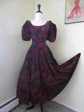 Vintage LAURA ASHLEY Burgundy Red Velvet Floral Dress Christmas US 14 UK16 EU42