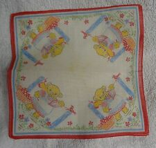 Child's Bear Hanging Laundry Red Edge     Handkerchief