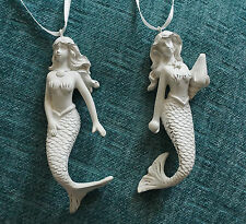 2 Antique Style Pearl White Mermaid Ornaments Set Beach Christmas Home Decor NEW