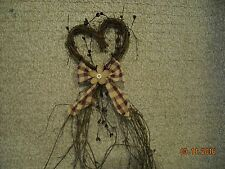 NEW Heart Shaped Wreath,Twig,Pip Berries,Homespun Tie,Burlap Daisy,Gift,Country