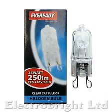5x G9 25w Eveready  HALOGEN DIMMABLE ENERGY SAVING CLEAR bulbs Capsule Watt 240V