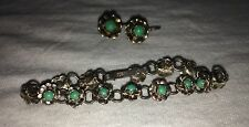 "Antique Navajo Sterling Silver Turquoise Flower Earrings  And 5 1/4"" Bracelet"