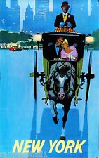 New York Carriage Ride Central Park Vintage U.S Travel Advertisement Art Poster