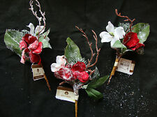 3 x Red & White Roses Christmas Picks Wreaths Garlands Floristry Snow dusted