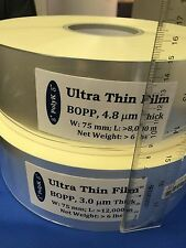 Ultrathin Polypropylene BOPP Film 4.8 um, 75 mm wide, 8,000 m long