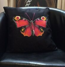 Black With Butterfly In The Centre Lichfield Cushion Cover