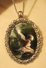 Handsome Leaf Etch Rim Silvertone Mysterious Winged Fairy Nymph Pendant Necklace