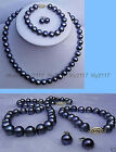 8-9mm genuine black Akoya Cultured Pearl necklace/bracelet/earrings Jewelry set