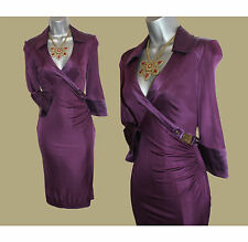 Karen Millen Deep Vibrant Purple Jersey/Silk Wrap Style Ruched Gorgeous Dress 8