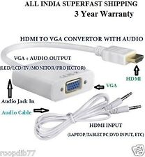 HDMI to VGA Converter Adaptor Cable With Audio Stereo Sound AUX Cab Inbuilt Chip