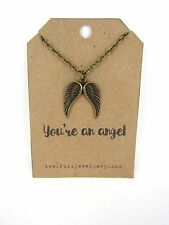 Mothers Day Bronze Double Guardian Angel Wings on Card With a Quote Necklace New
