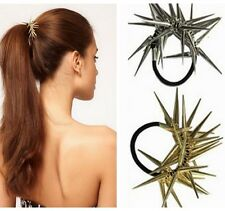Punk Spike Rivet Elastic Hair Rope Band Tie Ponytail Holder Bracelet Rock Style