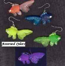 Weird Funky NEON GOLDFISH EARRINGS Beach Pool Fish Swim Luau Costume Jewelry-ONE