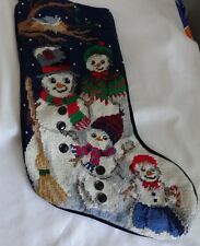 Vintage Christmas Needlepoint Snowman Family Toys Candy Gift  Presents Stocking