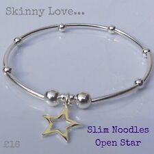 Skinny Love Plata Esterlina Slim Fideos & abrir Star pulsera