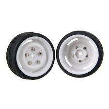 4x White Plastic Wheel Rims and Black Rubber Tires for RC1:10 On-Road Racing Car