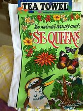 Queensland Australia Flowers Birds Kitchen Tea Towel Kookaburra Plumeria