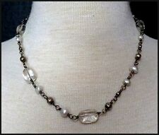 SILPADA Sterling Silver Pearl & Crystal Choker Necklace Possibly Retired Design