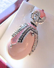 SALE ! BEAUTIFUL STERLING SILVER 925 with GENUINE PINK CORAL RUSSIAN EGG PENDANT