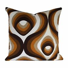 Vintage 70s Brown Psychedelic Fabric Cushion Cover  VW
