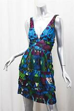ROBERTO CAVALLI Womens Blue Multi Abstract Knit Sleeveless Fit+Flare Dress 38/4