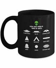 Popular Types of UFO's - Spaceships |  Outer Space | Green Alien Head Coffee Mug