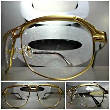 Mens Women CLASSIC VINTAGE RETRO AVIATOR Style Clear Lens EYE GLASSES Gold Frame