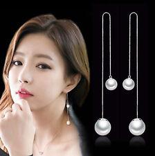 Ladies 925 Sterling Silver Pearl Tassel Dangle Drop Cocktail Wedding Earrings