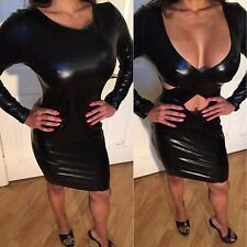 Connie's Stretch Wet look Black Mini Dress that is REVERSABLE  L