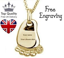 Childs Foot Personalised Engraved Name Necklace  Gold, UK