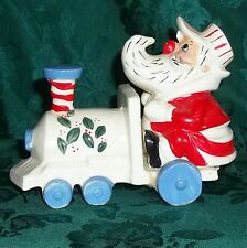 Vintage JAPAN Christmas Holiday Train Conductor Santa Claus on Steam Engine