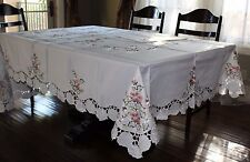 "72""x108"" Large Embroidered Tablecloth Spring Floral Topper Holiday Home Decor"