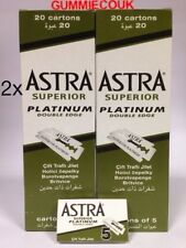 200 ASTRA SUPERIOR PLATINUM DOUBLE EDGE SAFETY RAZOR BLADES,wet Shave Free P&P