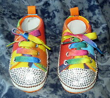 BAXTER'S BABY BLING BOOTEES ROMANY STRIPE WITH CRYSTAL & ORANGE BLING 0-6 Months