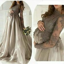 Long Maternity Bridal Gown Custom Applique Pregnant New Beach Wedding Dress 2016