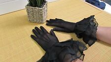 Antique Victorian Black Sheer Gloves with Ruffle Detail Size Small 6 1/2