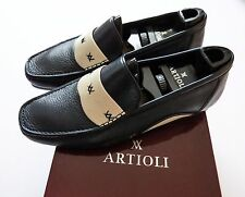$1100 ARTIOLI Blue and White Leather Shoes Loafers Size 9 US 42 Euro 8 UK
