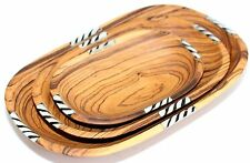 Handmade African Olive Wood with Deco Inlay Bowls Set of 3 Oval KENYA Damaged